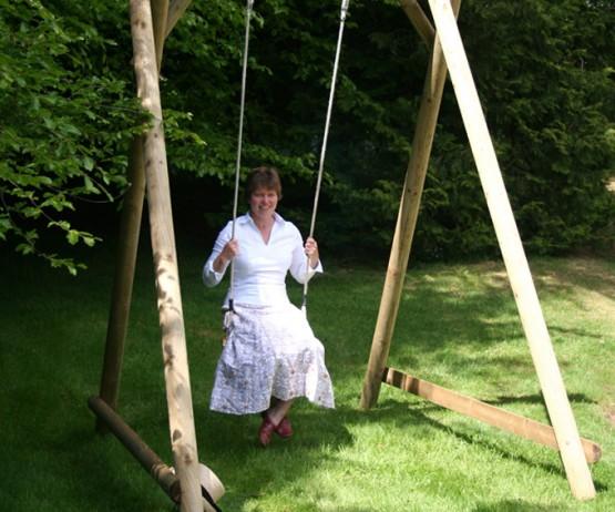 garden play wooden swing seat