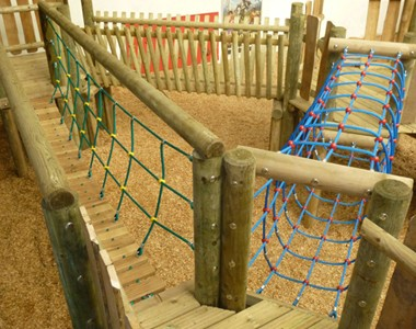 Three timber bridges at indoor play area Mabie Farm Park - Dumfries