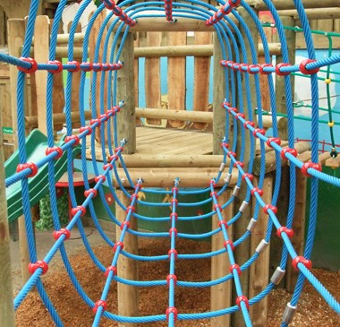 Net tunnel bridge at bespoke indoor play area Mabie Farm Park - Dumfries