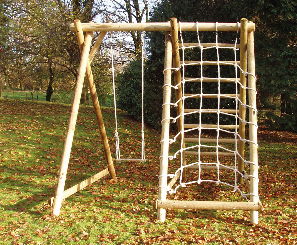 Single Swing Frame with Net Frame   Quality wooden play equipment ...