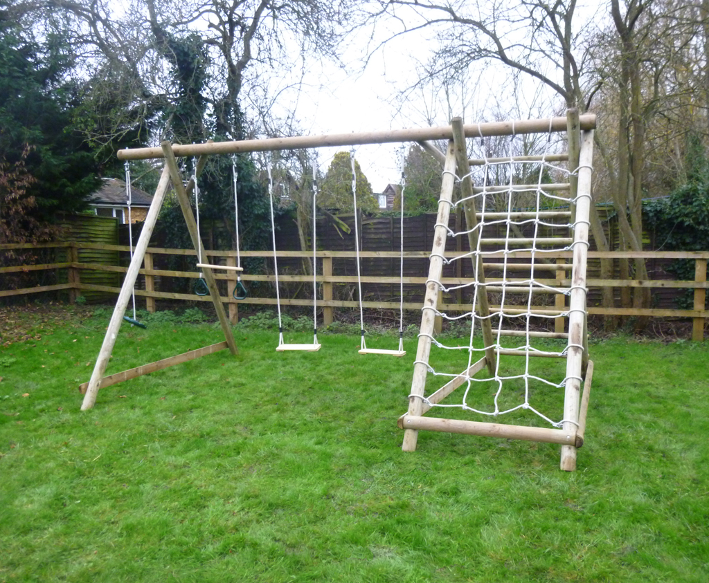 Triple swing frame with net frame and extension wooden for Swing set frame only