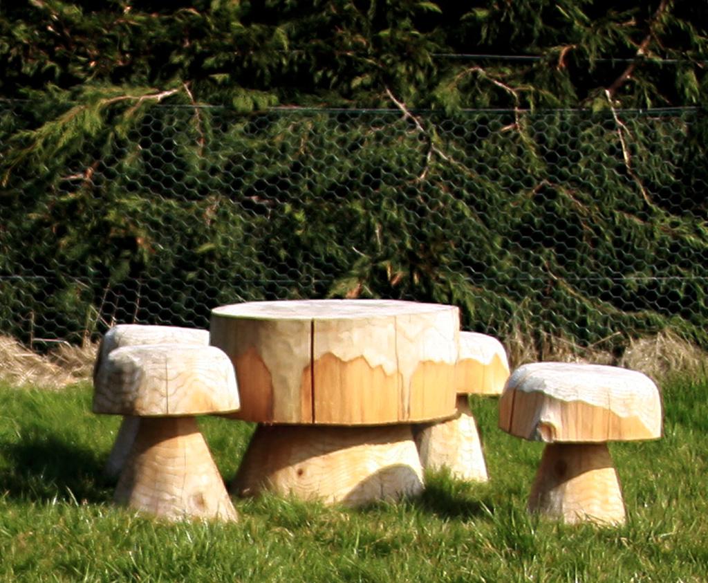 Beautiful Carved Mushroom Table For School And Nursery