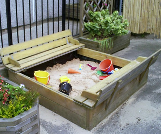 Heavy Duty Wooden Tidy Sandpit with Cover