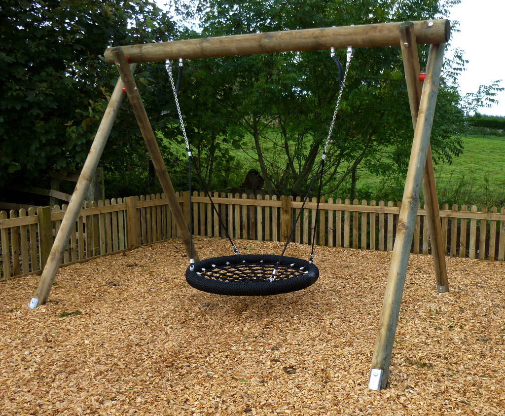 Wooden Basket Swing Fun For Lots Of Children To Use At A