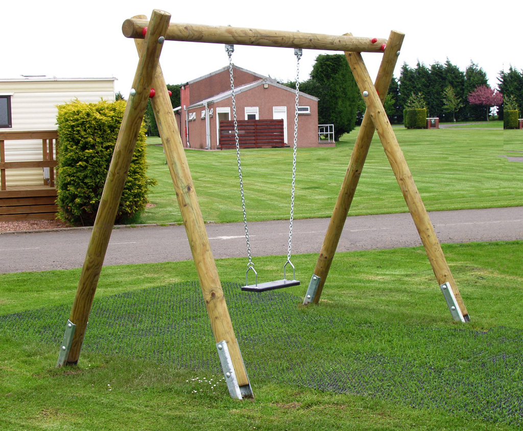 Standard Single Swing Frame Wooden Outdoor Play Equipment Uk