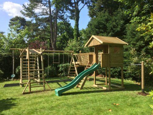 garden play gallery image multi products Garden play house with bridge triple swing frame with net frame and extension and monkey bar ladder