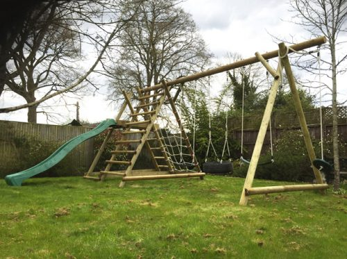 garden play gallery image TFNX SSF Triple swing frame with extension ad slide frame and net frame