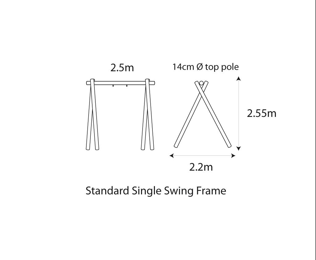 Standard Single Swing Frame Wooden Outdoor Play