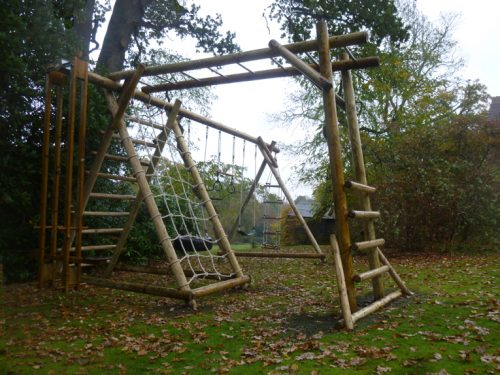 garden play gallery image FBSNX MBL Triple swing frame with extensions and net frame and minkey bar ladder