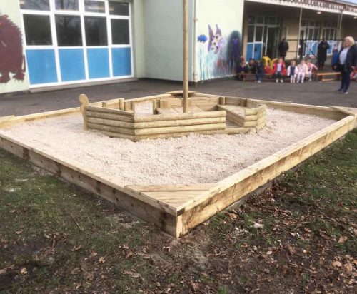 EDU Timber boat sandpit combination