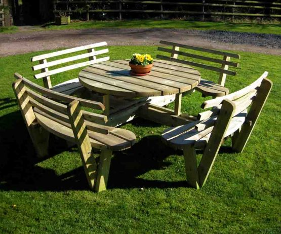 circular picnic table with back rests