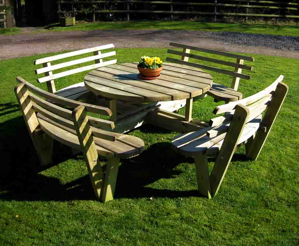 Circular Picnic Table With Back Rests Caledonia Play