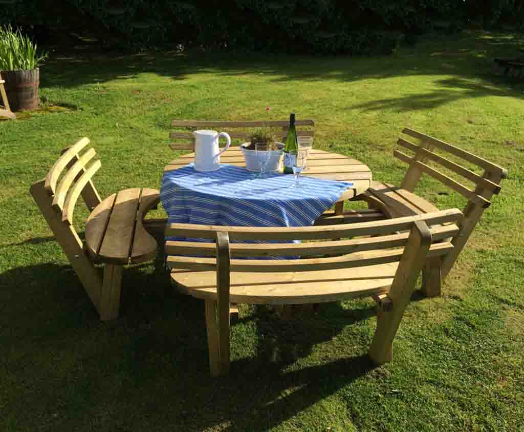 Circular Picnic Table With Back Rests Wooden Garden And Patio - Picnic table with backrest