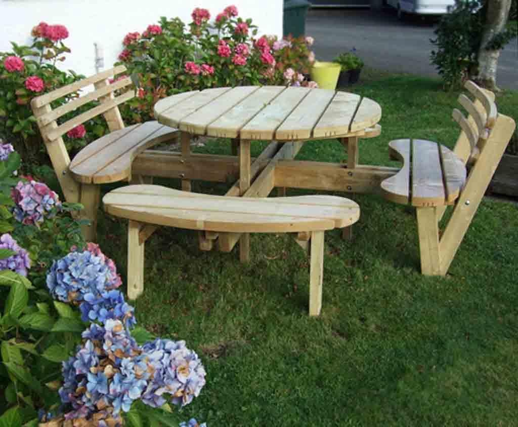 Circular Picnic Table With 2 Back Rests Caledonia Play Uk