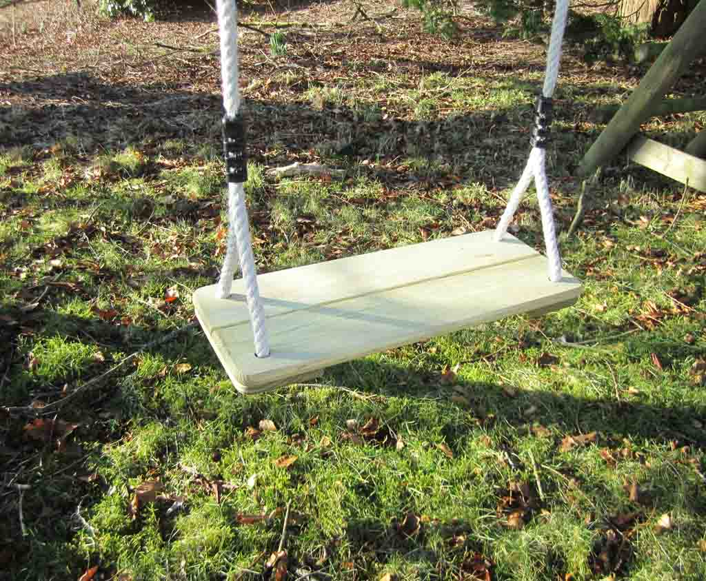 Wooden swing seat for your swing set caledonia play for Garden swing seat plans