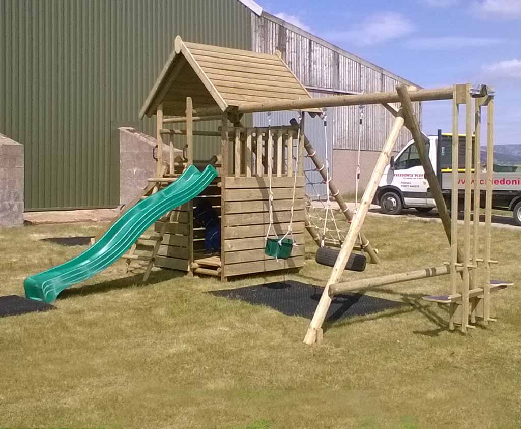 Garden Play Fort with Cargo Net and Swing Extension | wooden swings ...