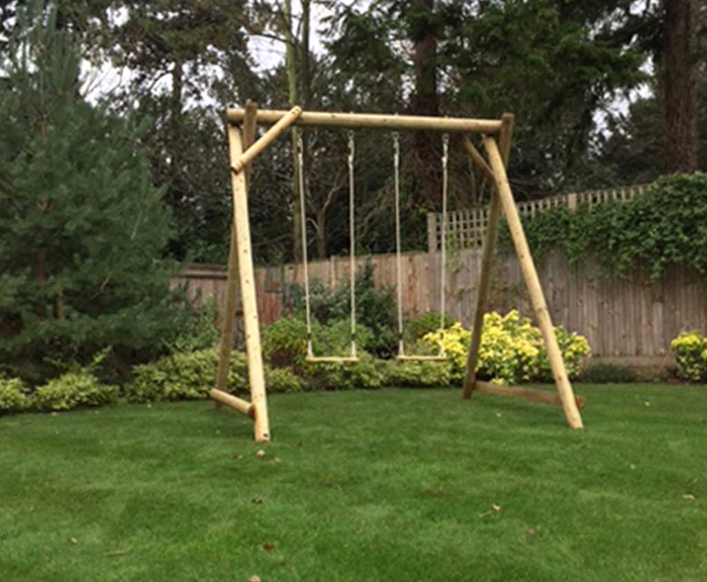 Double Swing Frame Wooden Garden Play Equipment