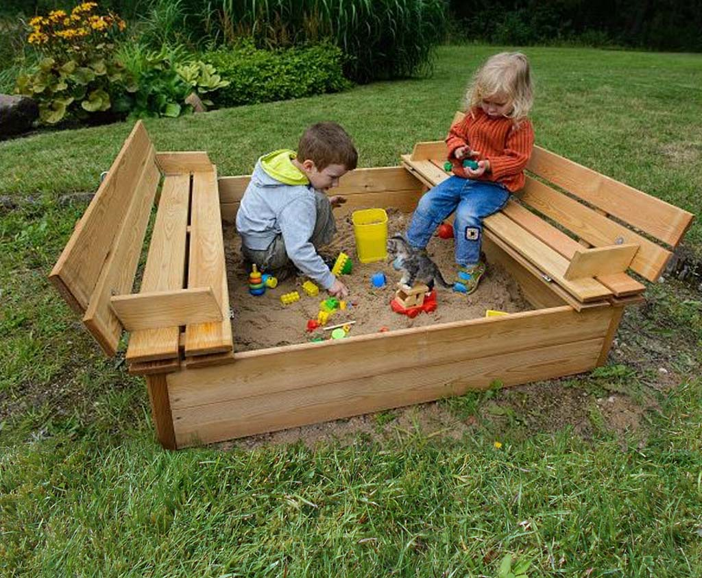 Wooden Tidy Sandpit with fold down benches | Caledonia Play