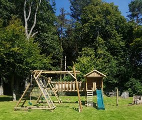 Garden Play House, V Timber Bridge, Net Frame, Monkey Ladder extension and Tumble Bar extension