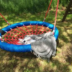 Red and Blue Basket garden play product listing gallery image basket swing