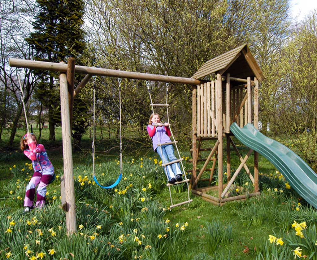 Wooden Multi Play Centre With Extension Wooden Garden Play Equipment