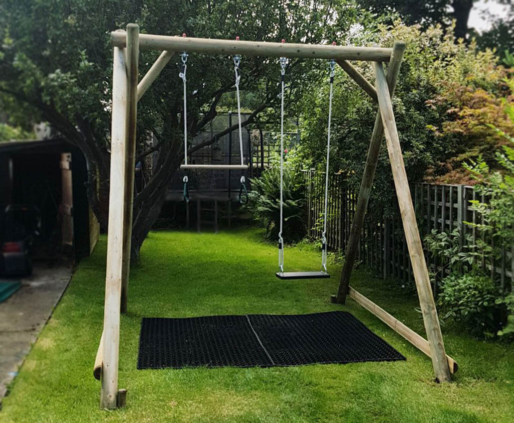 Double swing frame wooden garden play equipment for How to build a swing set for adults