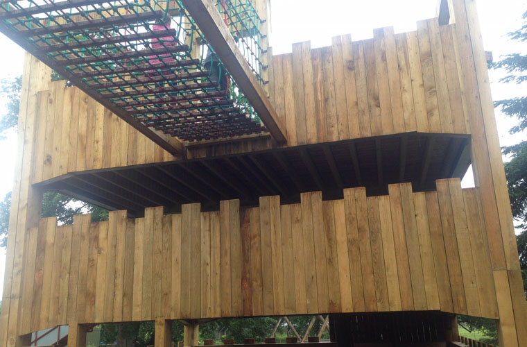 Timber high level bridge enclosed in robust custom-made scramble netting
