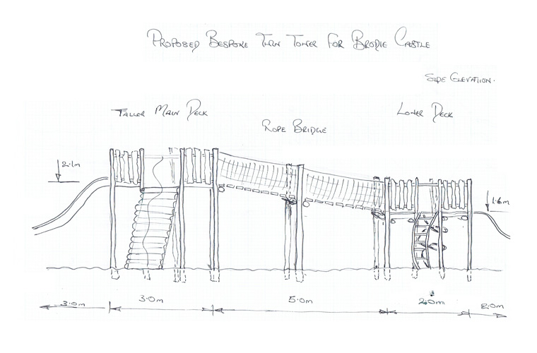 Side elevation sketch of play towers