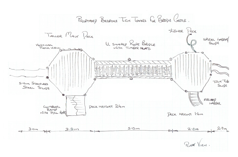 Plan view sketch of play towers