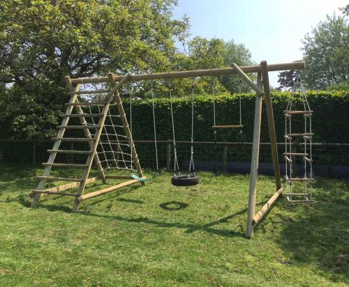 Garden Play TFNX Triple Swing Frame with Net Frame and Extension