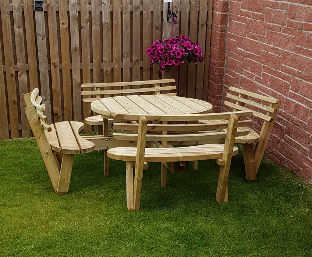 Circular Picnic Table With Back Rests Wooden Garden And
