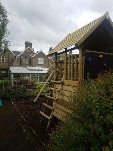 Garden Play Fort with Climbing Wall gallery image