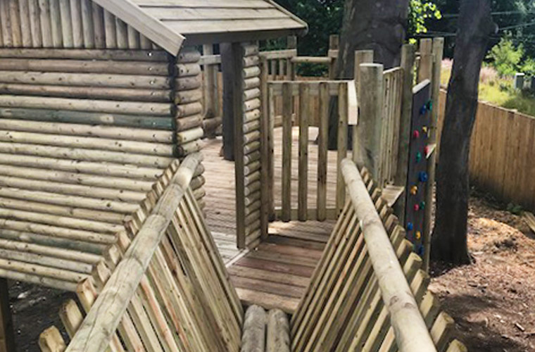 Tree deck with V Timber bridge access