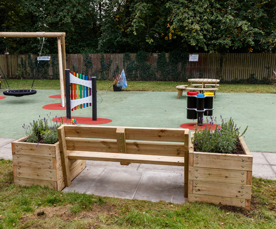 Bench and Planter Combination for schools