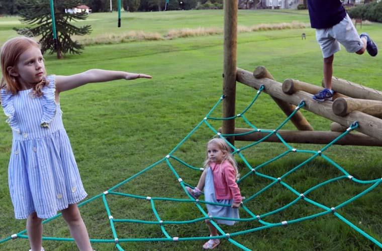 Children enjoying the Log maze Climber